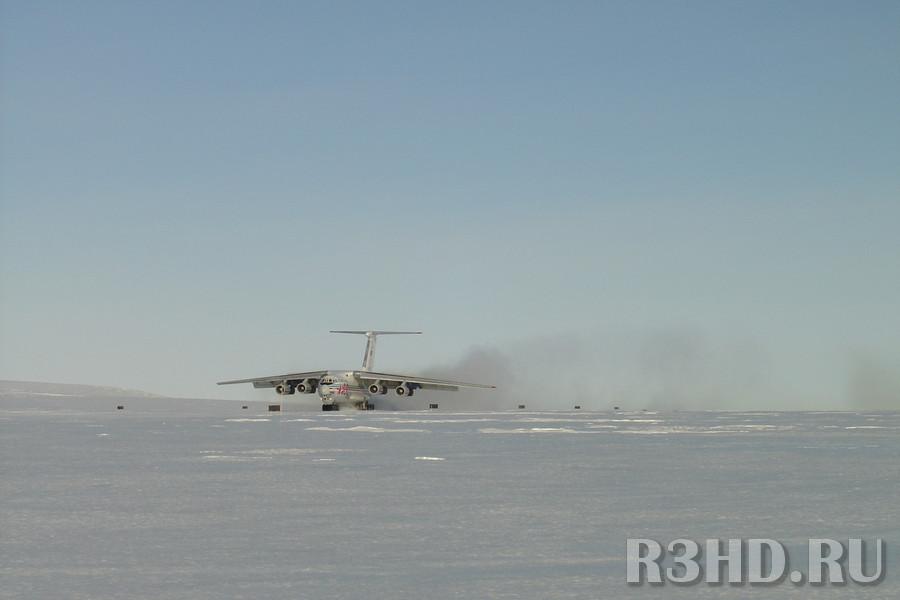 Посадка ИЛ-76ТД на ледовый аэродром ст. Новолазаревская
